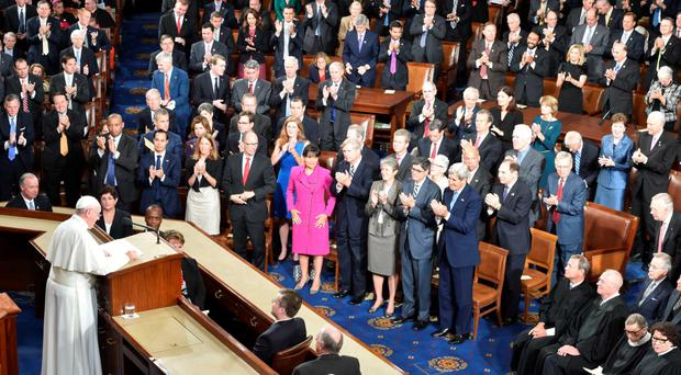 Pope Francis addresses the joint session of Congress in Washington DC yesterday