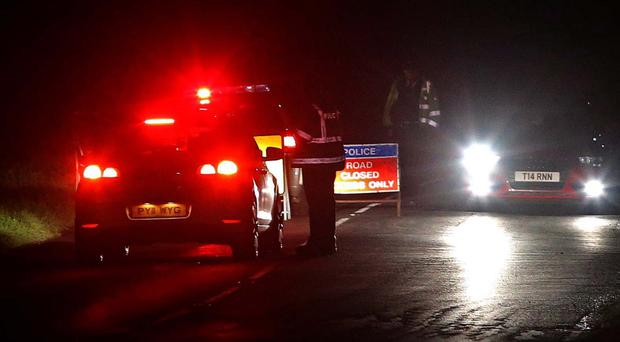 The scene on the Tobermore Road in Magherafelt after a motorist died in an accident last night
