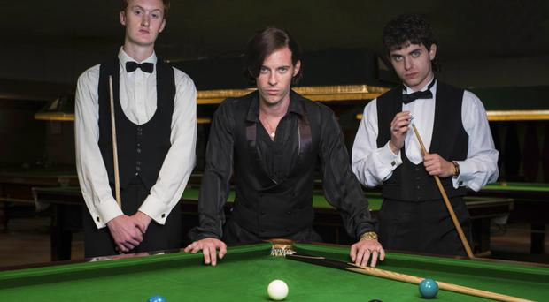 Actors Will Merrick (Steve Davis), Luke Treadaway (Alex Higgins) and James Bailey (Jimmy White) in The Rack Pack