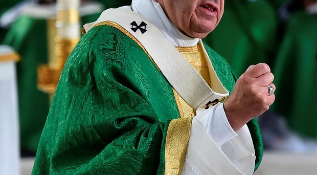 Pope Francis delivers his sermon during Mass