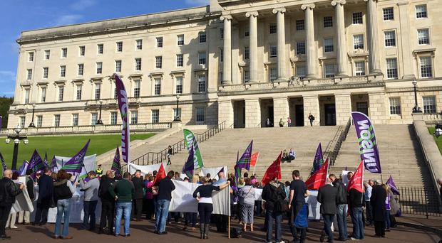 Protesters at a rally organised by health union Unison at Stormont, Belfast, over the possible closure of 10 NHS-run care homes
