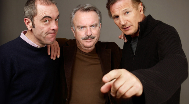 Actor Sam Neill, centre, with James Nesbitt and Liam Neeson