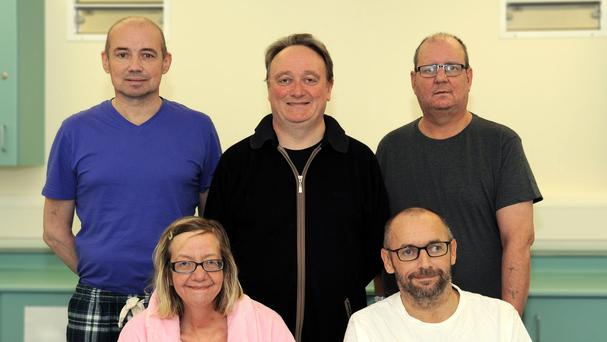 Transplant patients (back row left to right) Audrius Orinas, Aidan Murtagh, John FInnigan, (Front Row left to right) Fiona Anderson and John McGinley (Belfast City Hospital)
