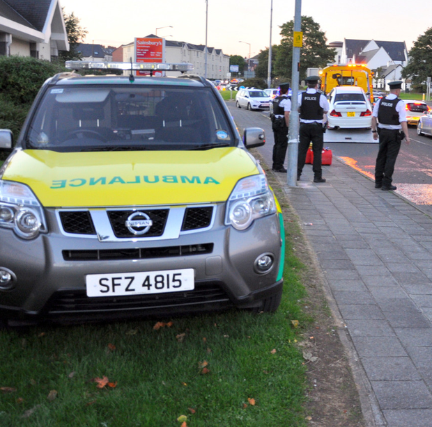 The scene of the road accident in Carrickfergus