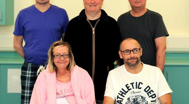 Kidney transplant patients (back row) Audrius Orinas, Aidan Murtagh, John Finnigan and (front row) Fiona Anderson and John McGinley at Belfast City Hospital
