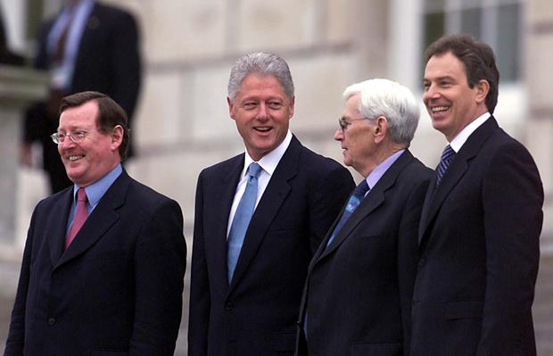 Seamus Mallon (second from right) with David Trimble, former US President Bill Clinton and former Prime Minister Tony Blair