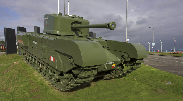 The refurbished Churchill tank on the seafront at Carrickfergus