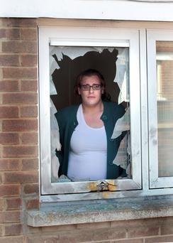 The woman in her bombed home