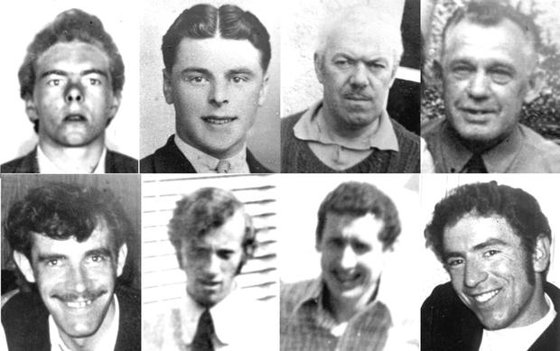 Victims: eight of the 10 workmen who were murdered in the massacre at Kingsmill. Top, from left : Robert Chambers, John Bryans, Joseph Lemon and Joseph McWhirter. Bottom, from left: Walter Chapman, John McConville, Kenneth Wharton and Reggie Chapman