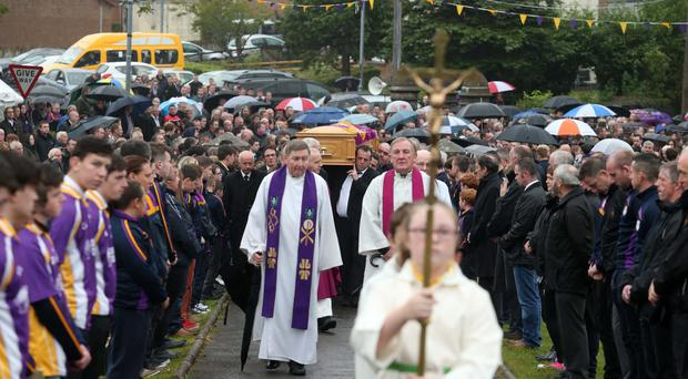 The funeral of Damian McGovern at St Patrick's Church, Derrygonnelly, yesterday