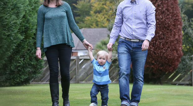 Paul Moore with his wife Victoria and son Charlie
