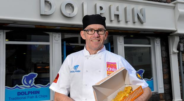 Owner Malachy Mallon outside his Dolphin takeaway in Dungannon