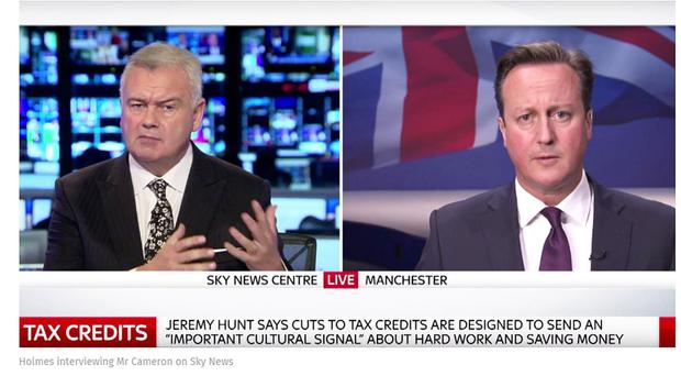Eamonn Holmes interviewing David Cameron on Sky News