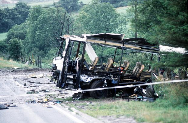 The wreckage of the coach in which the soldiers were travelling