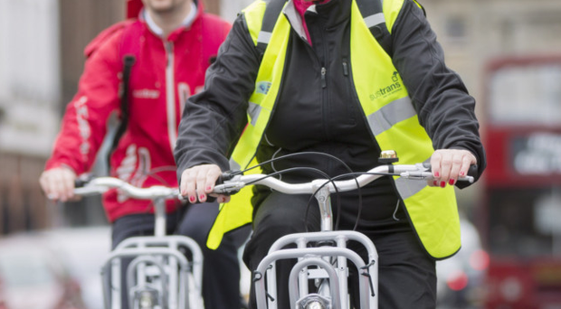 Belfast DUP councillor Aileen Graham and Ross McGill of Sustrans on the Belfast Bikes