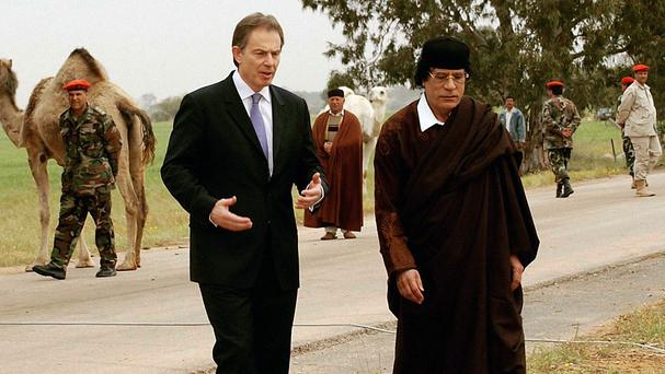 Tony Blair pictured during a visit to Muammar Gaddafi in Tripoli