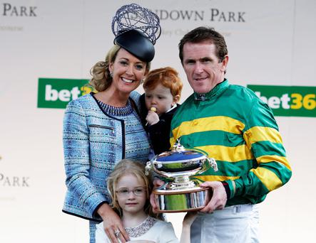 Tony McCoy with wife Chanelle and children Eve and Archie