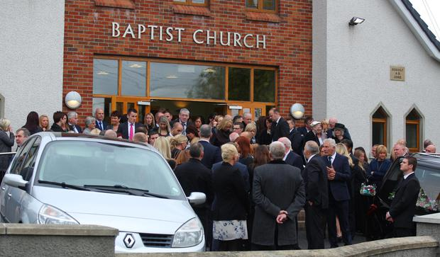 Mourners at the funeral for Charlene Campbell
