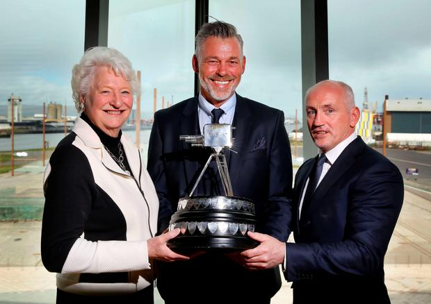 Looking forward: Dame Mary Peters, Darren Clarke and Barry McGuigan celebrate the BBC Sports Personality of the Year coming to Belfast.
