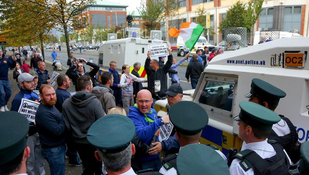 Members of the Anti Internment League protest outside Belfast Metropolitan College on Saturday