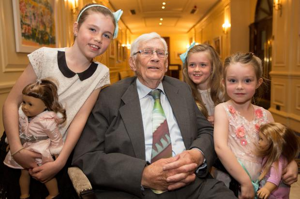 Seamus Mallon with granddaughters Grace (10), Maria (7) and Lara (5)