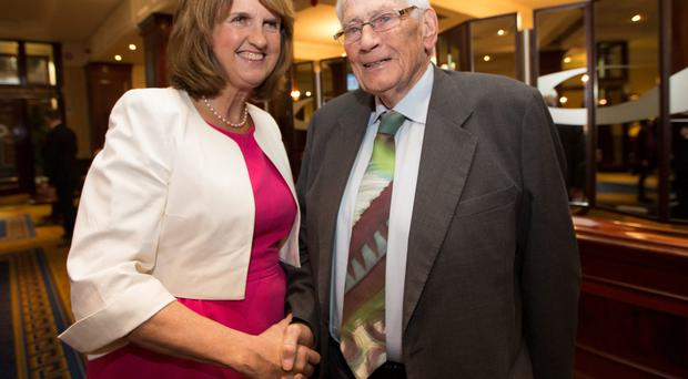 Seamus Mallon Tanaiste Joan Burton at the tribute dinner