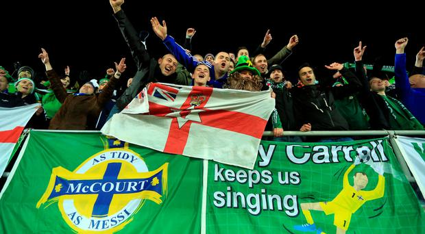Northern Ireland fans celebrate after the team's draw with Finland