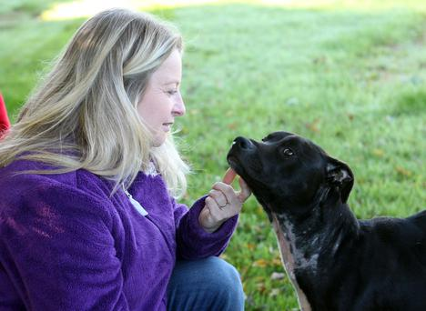 Gillian McFadden and Oscar who was discovered by the Doghouse Sanctuary covered in maggots