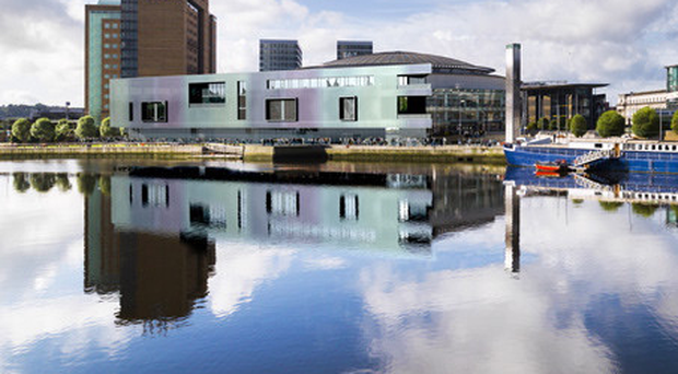 A computer-generated image showing how the new-look Belfast Waterfront that is being built on the River Lagan