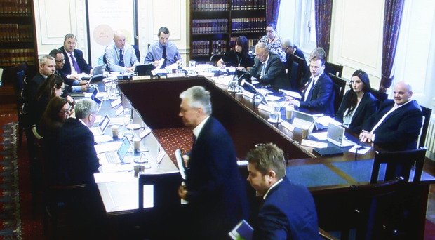 Northern Ireland's First Minister Peter Robinson appearing before the Nama inquiry