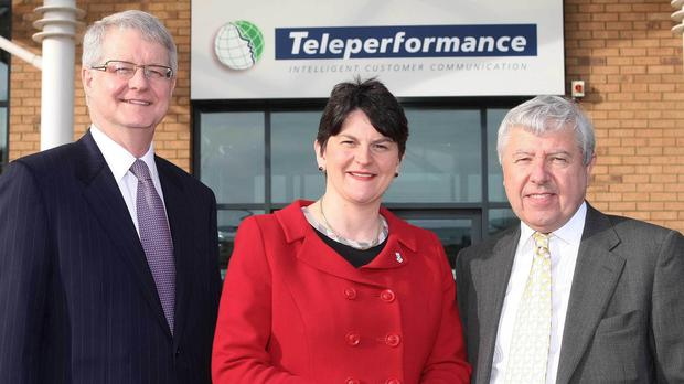 Arlene Foster (centre) on a previous visit to Teleperformance