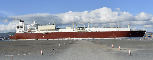 Colossal cargo vessel limps way into Belfast harbour