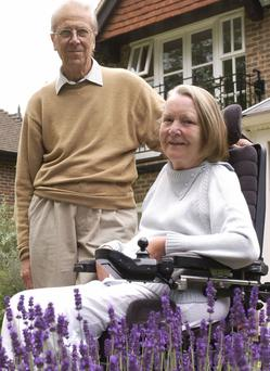 Lord Tebbit at home with his wife Margaret