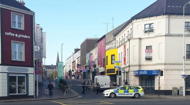 The scene in the centre of Omagh in Co Tyrone, following the discovery of the object close to Strule Arts Centre.