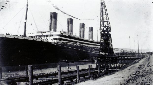 One of the unpublished photographs of the launch of the Titanic which are to go under the hammer (Henry Aldridge & Son/PA)