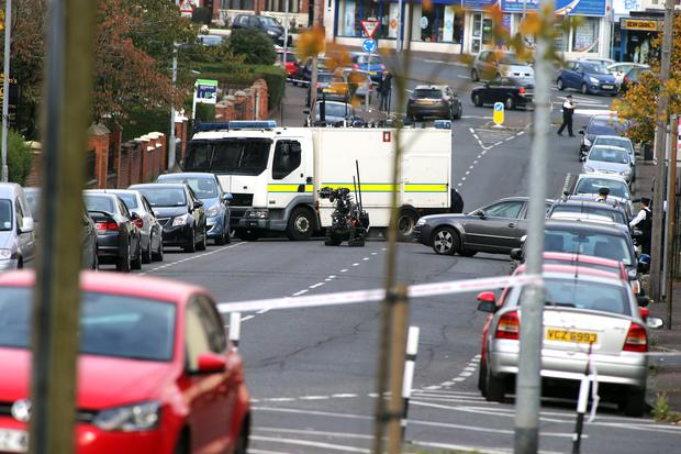 The scene of the security alert on the Oldpark Road in north Belfast yesterday