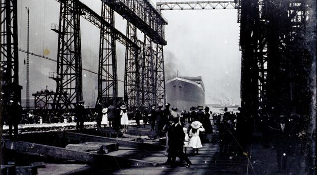 Photograph of the launch of the Titanic which are to go under the hammer