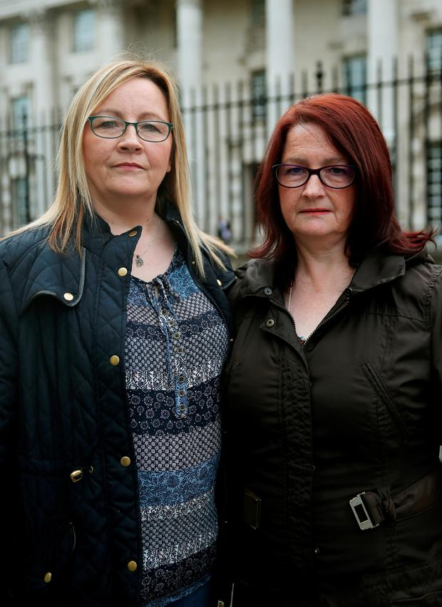 The family of Eugene Dalton, Phyllis Kealey and her sister Rosaleen Quigley outside the High Court in Belfast yesterday