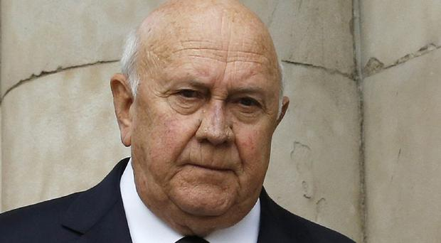 Former South African president FW de Klerk said he was 'glad we did not give blanket amnesty to faceless people'