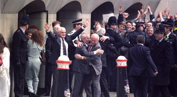 The Birmingham Six celebrate freedom as they are released from their wrongful convictions
