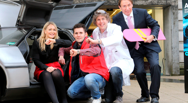 Stephanie McCullagh (NIE); graduate Brian Moorehead (Marty McFly); Dr David Laverty (Doc Brown), and NIE's Gordon Parkes