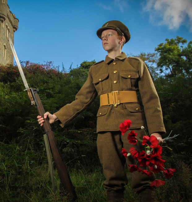 Launching this year's Poppy Appeal at Helen's Tower, Clandeboye, is Greg Jamison (15) from Belfast. He wears the uniform of the 36th (Ulster) Division