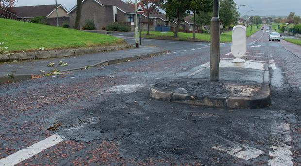 The scene in Galliagh in Derry where up to 100 youths were at the centre of disturbances