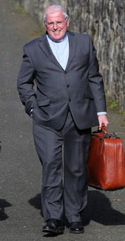 Rev Karl Teggarty leaving St Patrick's Church, Newry, yesterday