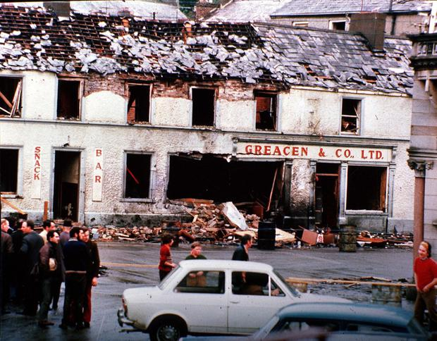 UVF carnage: the aftermath of bomb in Monaghan in 1974, one of the Dublin and Monaghan bombings in which 33 people were killed