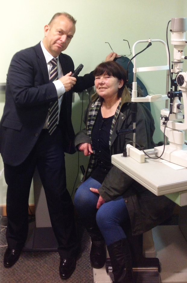 Denise Wilson from Lurgan with optometrist Eamonn Murray