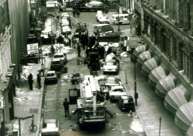 The scene outside Harrods in London in 1983 after two blasts, one outside and another inside the store, left dozens dead and injured