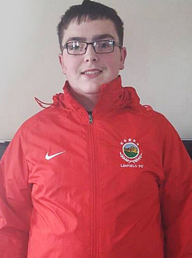 Gareth in his Linfield FC coat