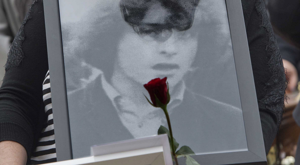 Awful time: Philomena McKee at the funeral of her brother Kevin