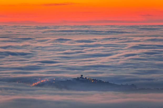 Ryan Simpson's amazing photograph of Rathfriland, showing it enveloped in heavy fog yesterday